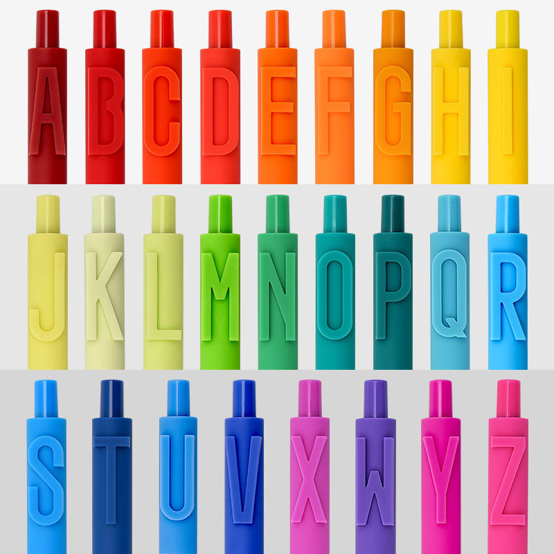 KACO 字母黑色按动中性笔书源款学生简约糖果色软胶笔杆彩色水笔套装0.5mm创意数字英文字母组合36色套装