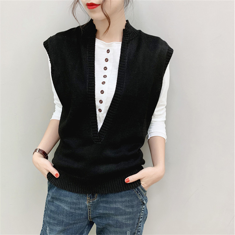 Autumn and winter knitted V-neck vest solid cashmere sleeveless waistcoat womens short literary style sweater fashion