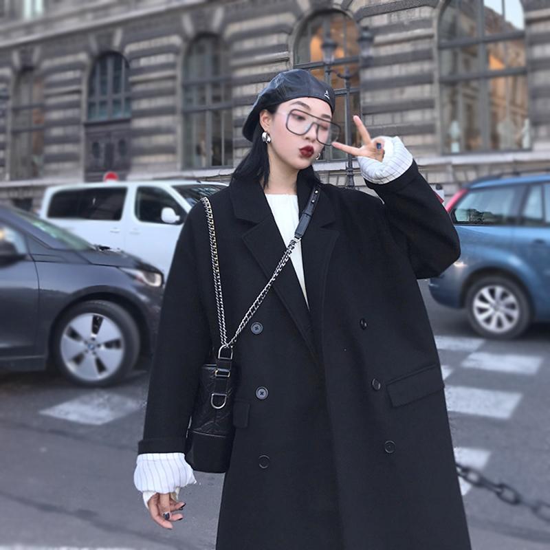 呢子大衣女2021冬新款长款过膝毛呢外套女黑色赫本风加厚羊毛呢子
