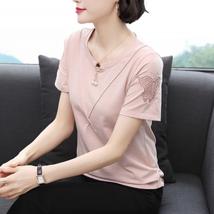短袖女夏季女装洋气2021夏装大码t恤衫纯棉中年妇女妈妈上衣小衫