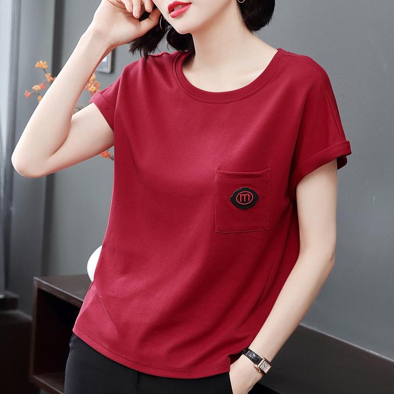 宽松短袖女士t恤上衣大码2019夏装新款红色纯棉中年妈妈半袖小衫