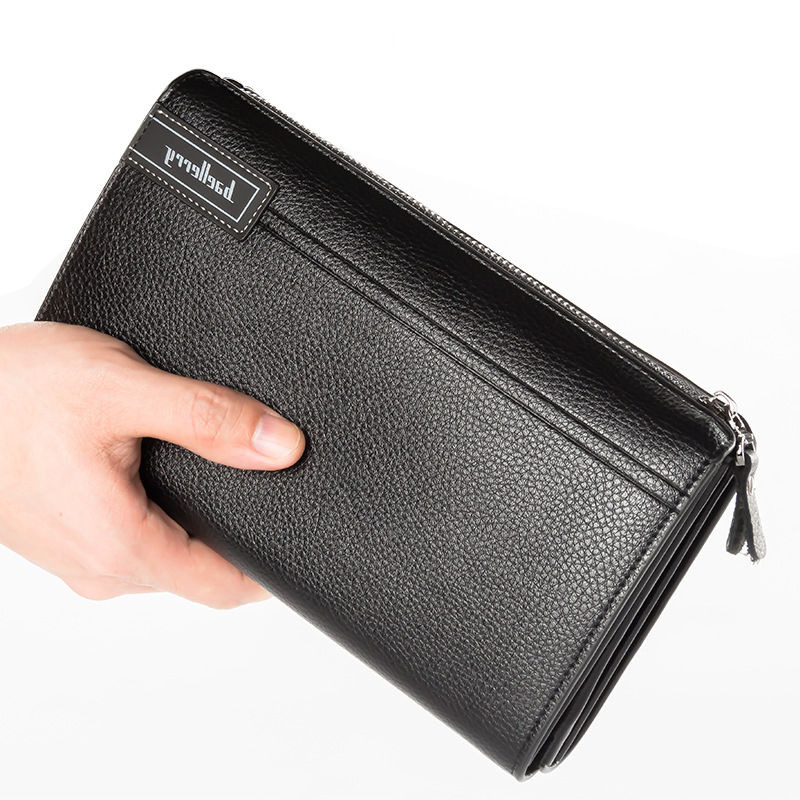 7-inch Mobile Phone Wallet large capacity litchi grain zipper mens bag with multiple compartments