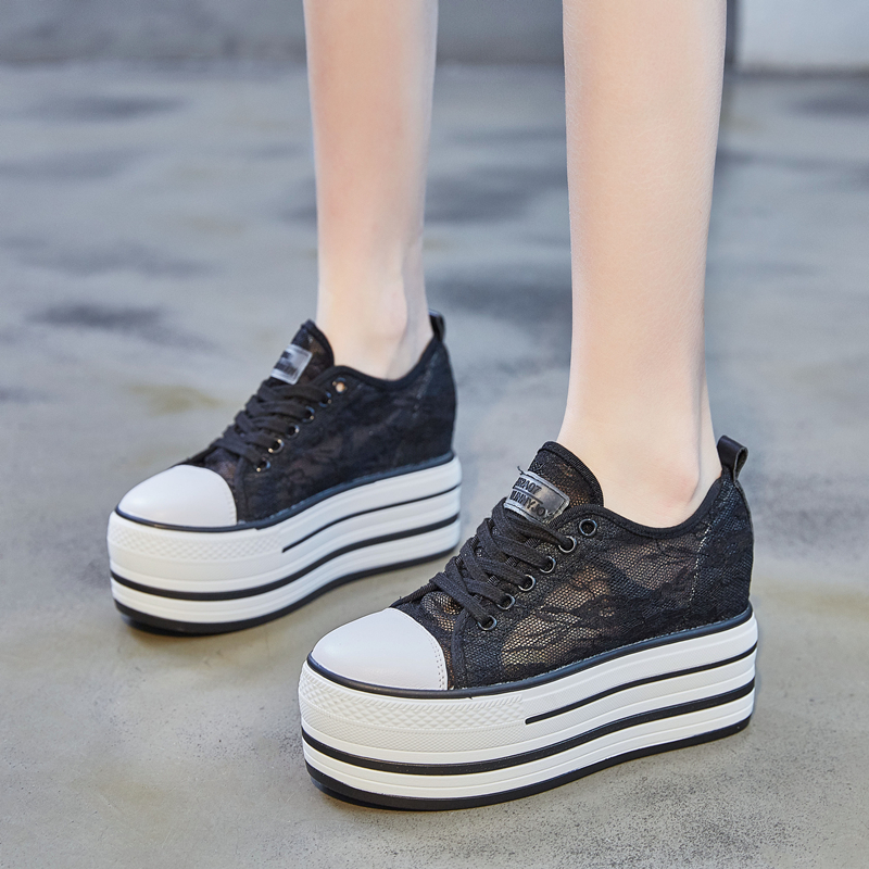 蕾丝小白鞋2020新款夏季透气厚底鞋女松糕底真皮韩版休闲网纱单鞋