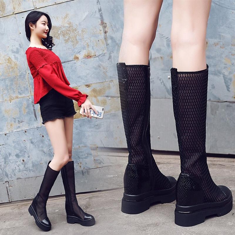 内增高网靴女夏2019新款厚底透气网鞋时尚镂空白色凉靴街头长筒靴