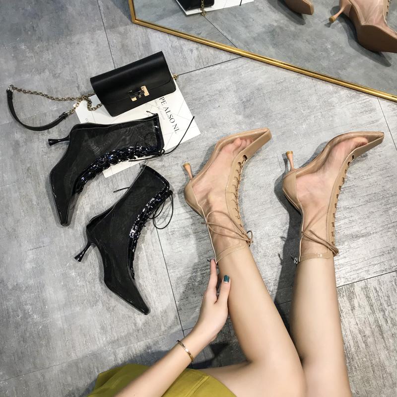 网红夏季靴子2020新款镂空凉靴细跟性感高跟透气网纱中筒绑带网靴