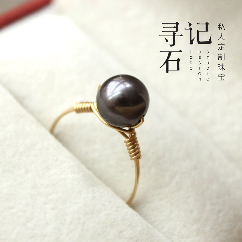 14k Gold injection, colorless, hand-made round micro defect Black Pearl / near round micro defect white pearl ring / ring
