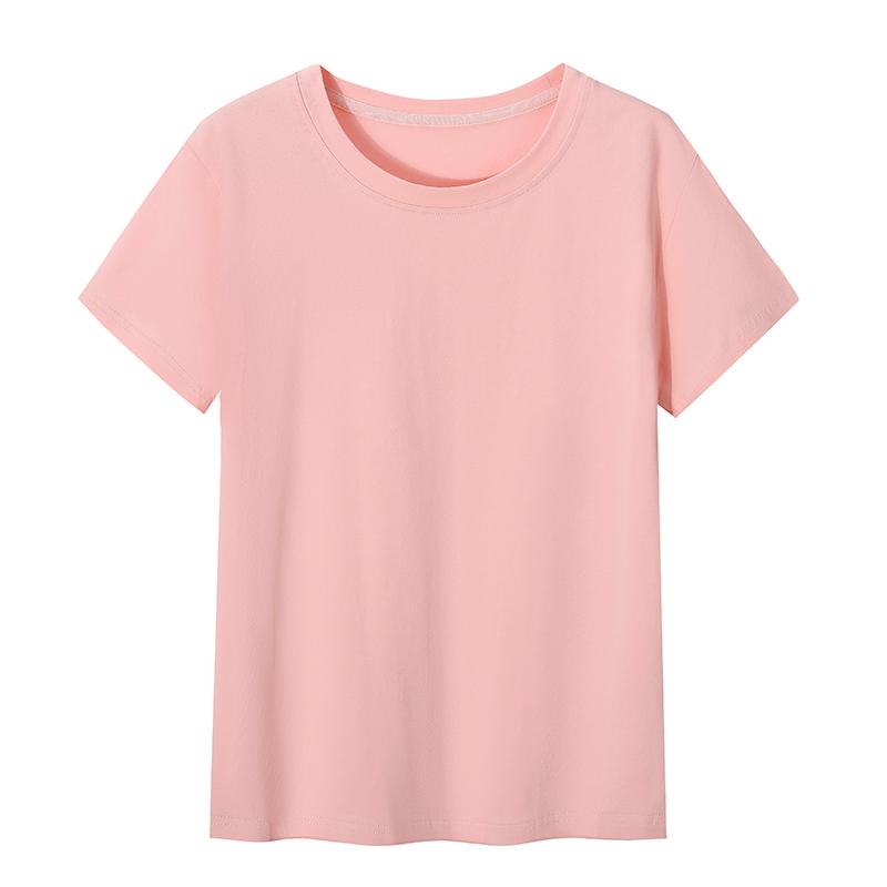 白色t恤女士纯棉短袖加大码新款夏季宽松短款上衣蓝色打底衫