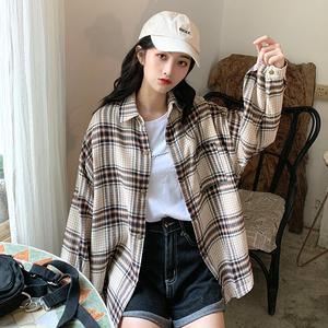 早秋2019新款韩版宽松百搭复古格子衬衫外套女装长袖衬衣上衣学生