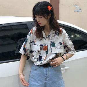 印花夏季短袖2021新款宽松显瘦衬衫