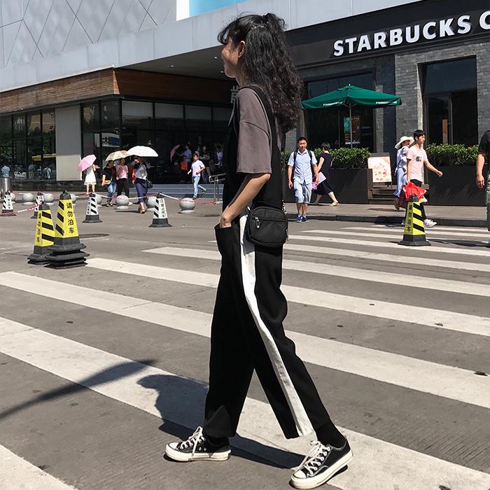 夏季女装宽松慵懒风连体裤侧边条纹懒人背带裤阔腿裤休闲裤九分裤
