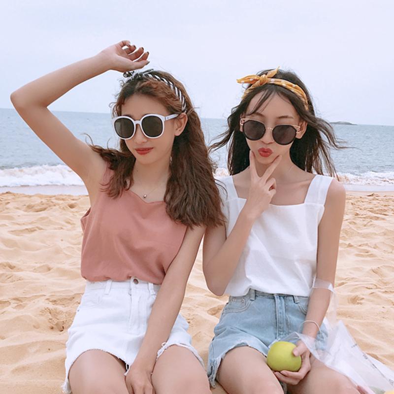 2018夏装女装韩版宽松纯色工字型背心百搭外穿可爱闺蜜吊带打底衫