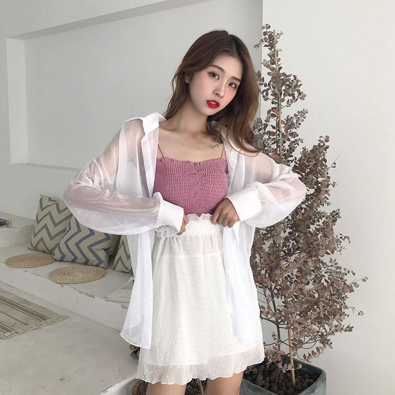 韩版时尚休闲套装夏装女装吊带背心上衣 半身裙裤裙 防晒衫三件套