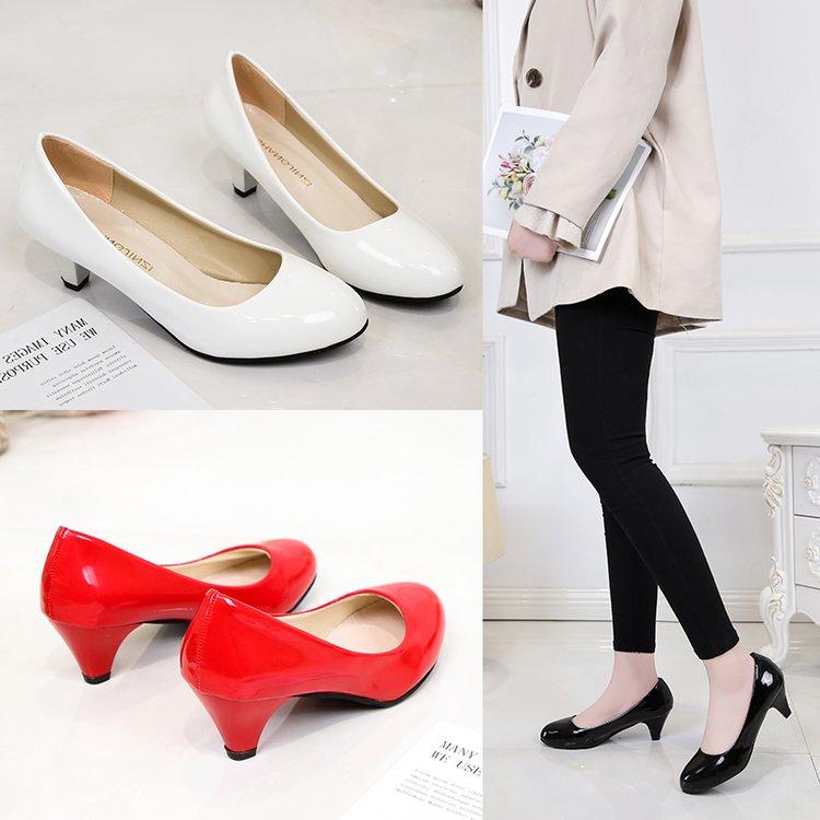 春秋浅口单鞋中跟尖头工作鞋高跟女黑色正装皮鞋上班鞋红色婚鞋
