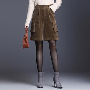 宽松五分裤女秋冬2020新款高腰灯芯绒短裤工装裤阔腿条绒裤子显瘦