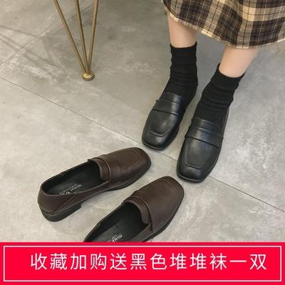 ins网红黑色小皮鞋女英伦风2019秋款学生韩版百搭方跟平底单鞋潮