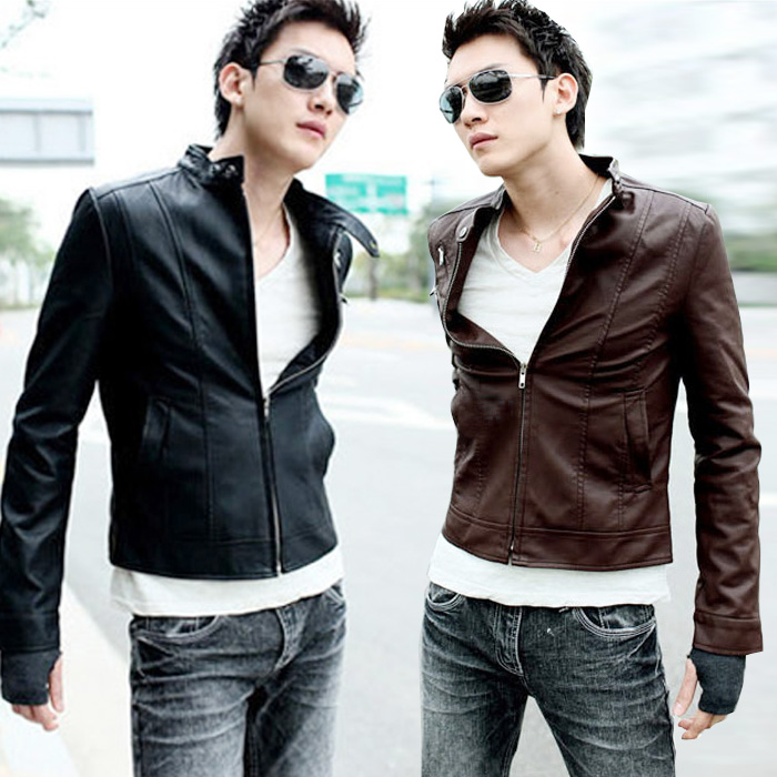 Куртка мужская 2014 весной новый Корейский моды молодежи тонкий тонкий кожезаменитель Куртка Пальто меха воротник мужчин