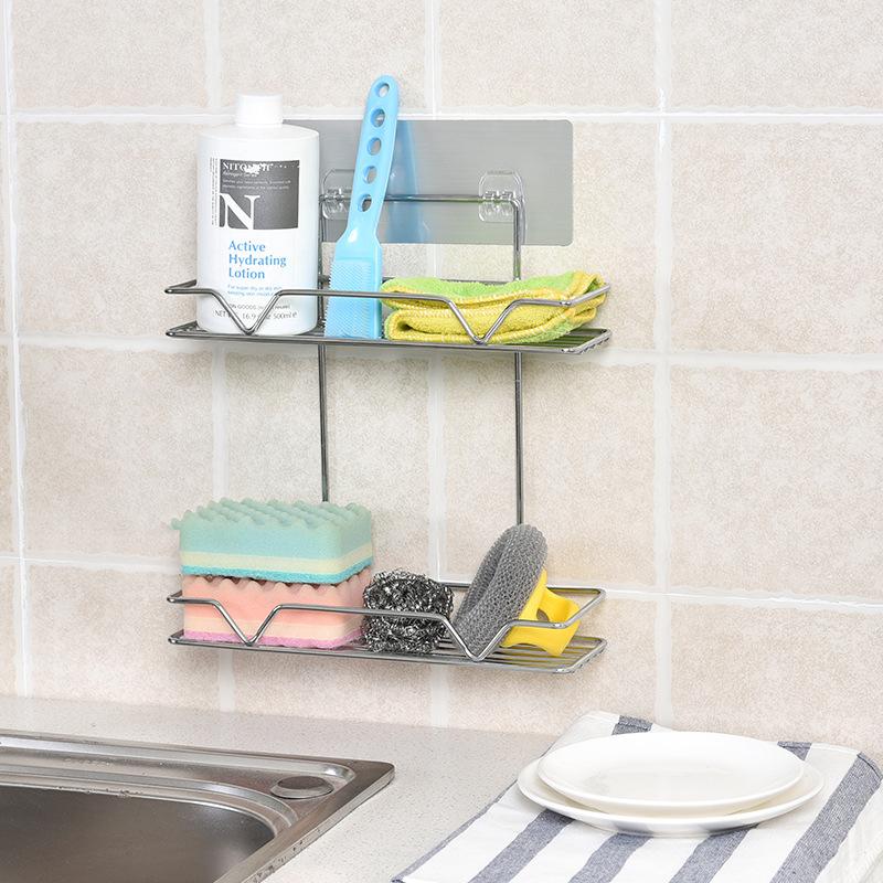 魔力無痕貼不鏽鋼浴室置物架壁掛免打孔收納架廚房化妝間收納籃