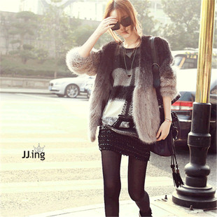 New winter 2012 women imported from Finland gradual transition color mink knit cardigan fur coat