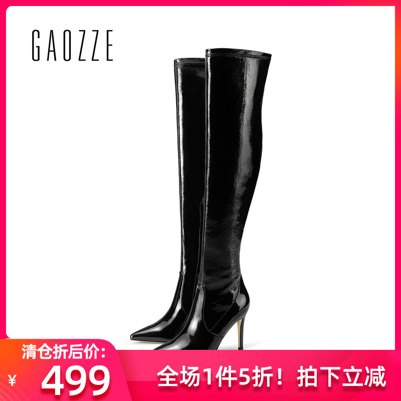 Gaoze womens shoes in autumn and winter, pointed thin heel over knee boots, womens side zipper, sheepskin high heel boots