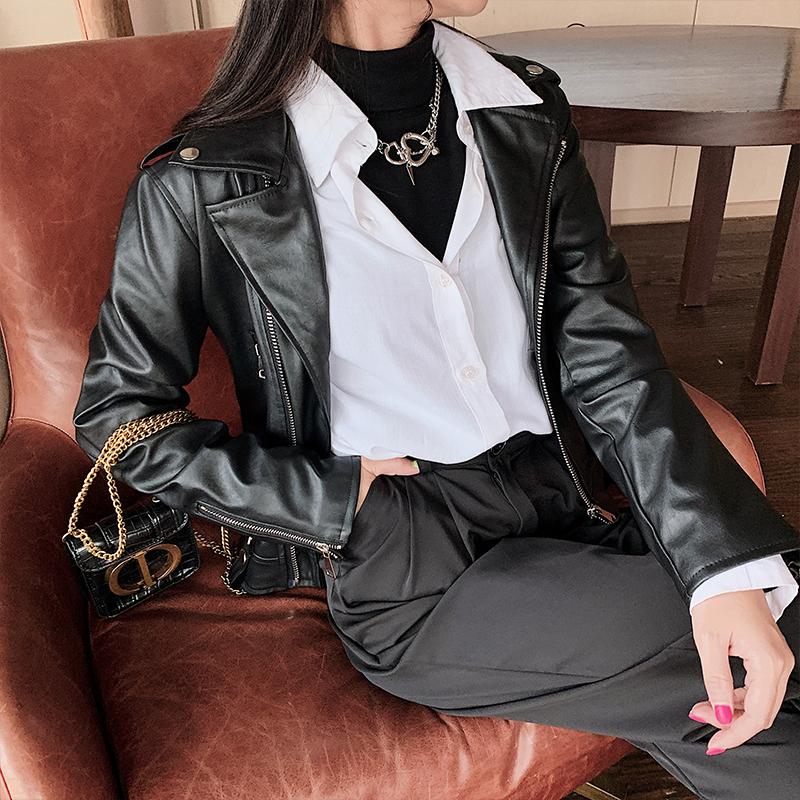 빅사이즈 여성용 리얼 레더 여성용 크롭 점퍼 재킷 데일리룩 여성용