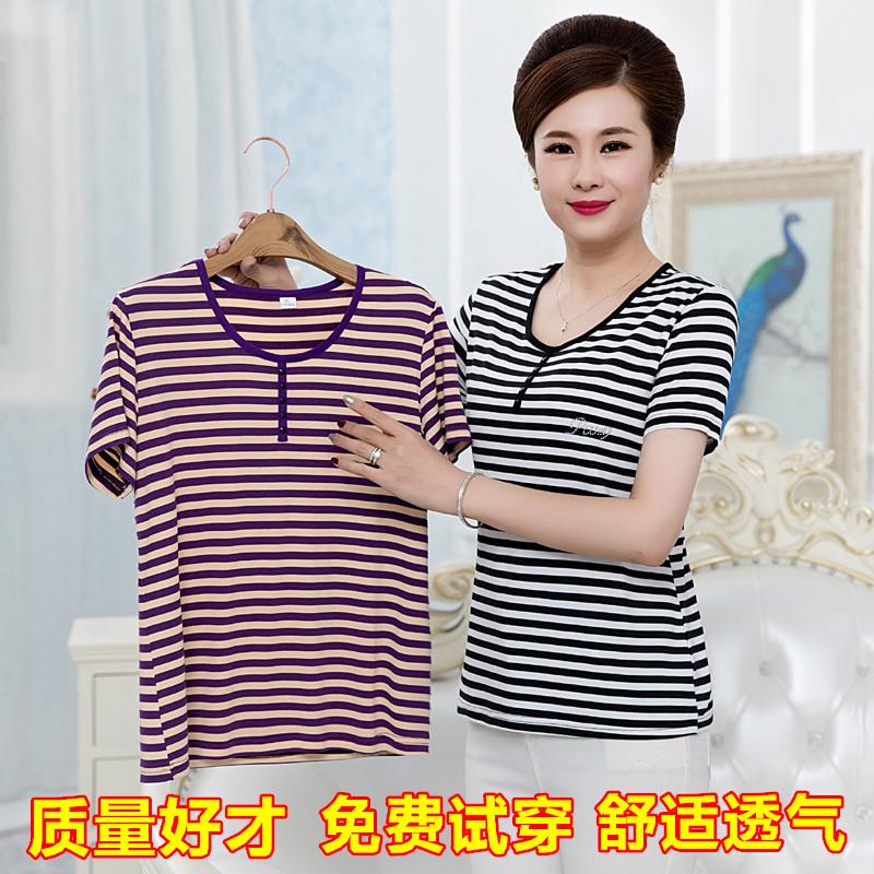 春夏新款莫代尔棉条纹短袖T恤中老年人女装上衣妈妈装宽松打底衫