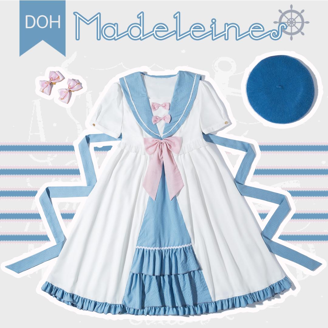 Spot [original by DOH] - Madeline - four color girl Lolita Navy style OP summer Lolita skirt