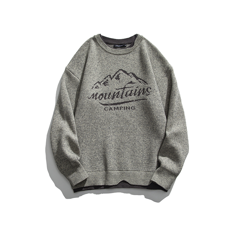 2021 autumn new men's and Japanese retro cultural landscape letter printed fake two-piece sweater sweater m66-f95