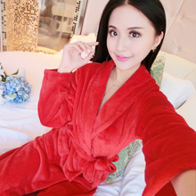 Autumn and winter flannel robe long thickening waist robe bathrobe ladies large size coral velvet pajamas home service