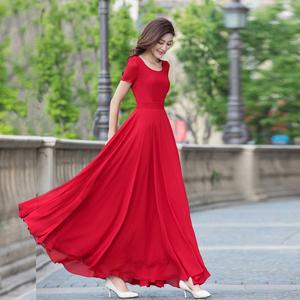长裙夏连衣裙女2021新款气质雪纺修身沙滩裙大摆显瘦超长款裙子