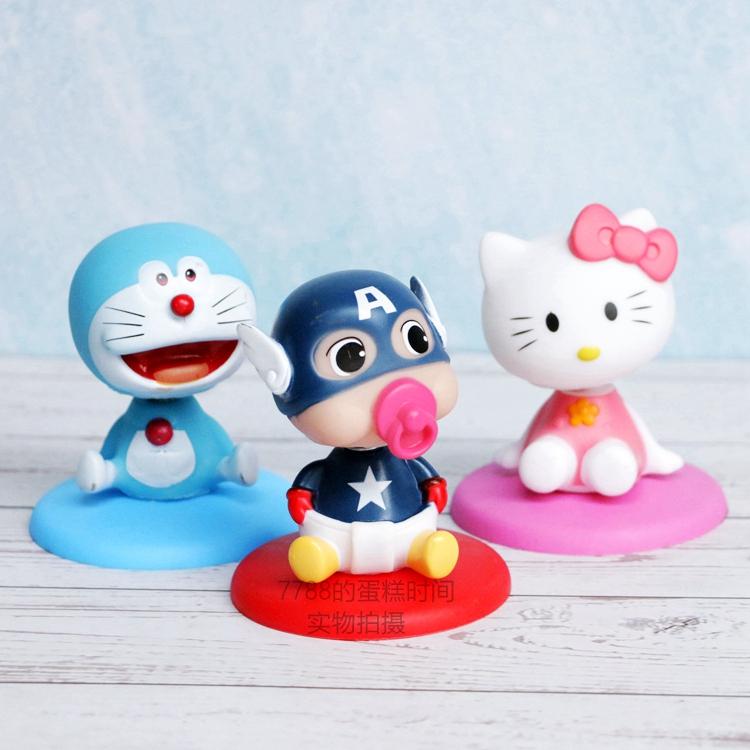 摇头娃娃机器猫米奇布朗熊Kitty 奶嘴美国队长轻松熊猫 大号公仔
