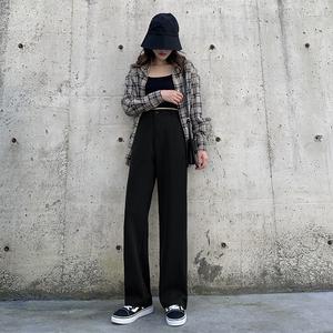 黑色小个子阔腿裤女高腰夏季薄款垂感宽松显瘦冰丝西装直筒拖地裤