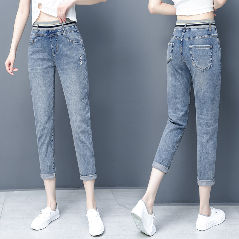 New high waisted jeans summer thin show thin radish small feet Capris loose large fashion straight pants women