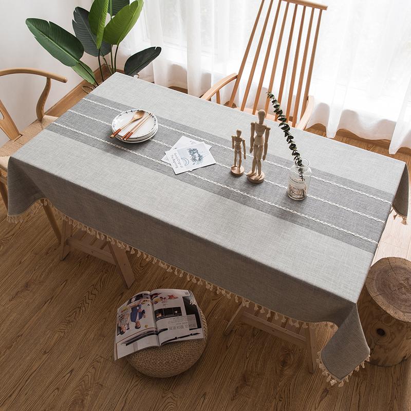 北欧桌布布艺棉麻清新餐桌布客厅流苏边长方形茶几布亚麻台布盖布52.00元包邮