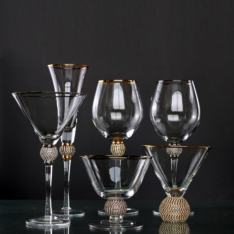 Creative gold rimmed goblet red wine cup foreign trade glass wine set customized Champagne Cup ice cream cup