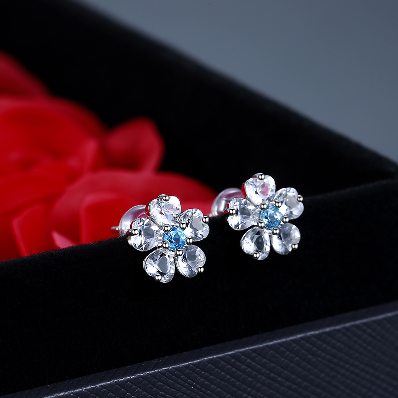 [same style in shopping mall] natural crystal earrings light luxury pure silver earrings