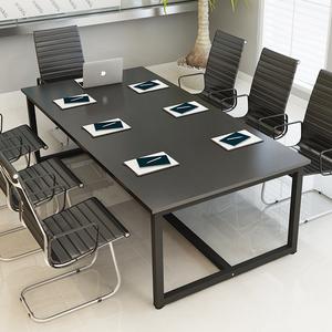 小型简易黑色会议桌长桌长方形简约现代4人6人-10人2米大办公桌子