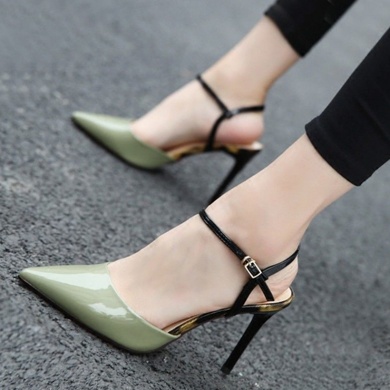 Baotou sandals womens summer sharp head patent leather back empty button shallow mouth womens shoes color matching fashion thin heel high heels