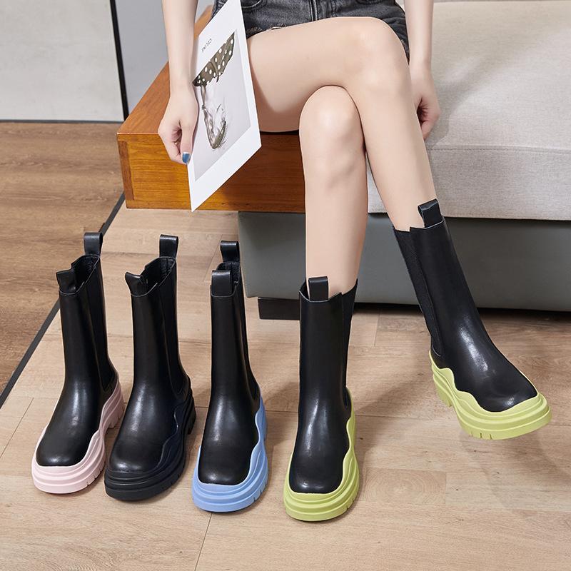 Gujun official website flagship store bv boots 2021 new high barrel Martin boots womens winter shoes