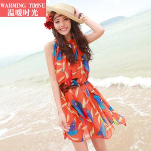 泰国沙滩裙女小个子2020新款海边度假旅行短裙波西米亚雪纺连衣裙