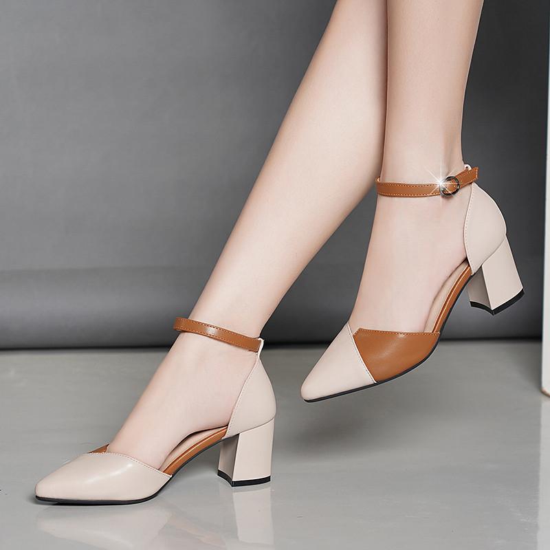 满340.00元可用255元优惠券2019夏季新款意尔康真皮高跟女单鞋