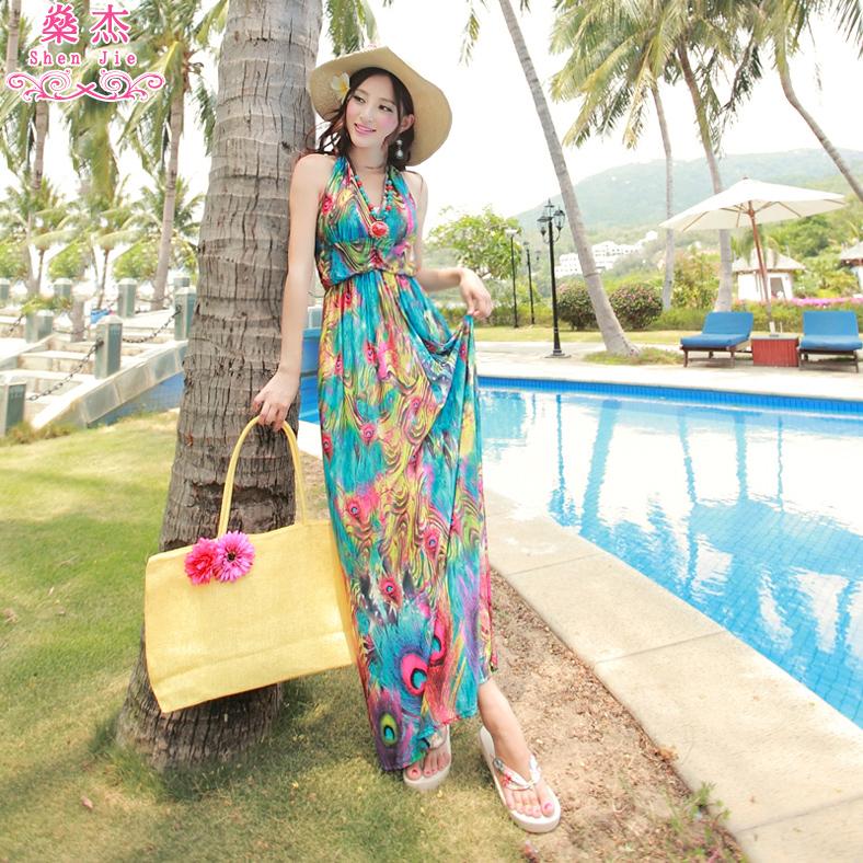 燊杰新款冰丝波西米亚孔雀印花长裙连衣裙吊带裙沙滩度假裙子