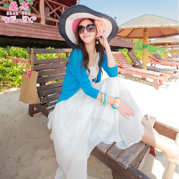 海边度假春夏V领长袖针织衫女开衫空调防晒衫毛衣小披肩外套上衣