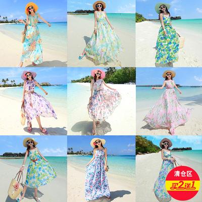 买2送1沙滩裙女海边度假三亚泰国普吉岛长裙雪纺仙女裙子连衣裙夏