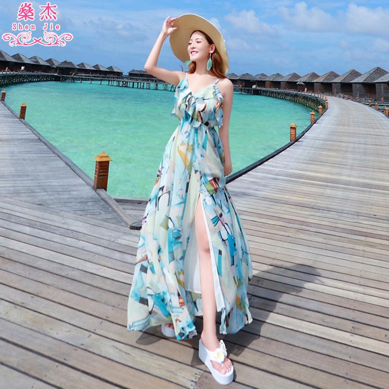 沙滩裙女泰国巴厘岛度假波西米亚雪纺V领吊带裙海边连衣裙长裙夏
