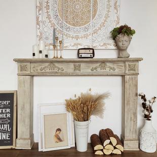实木复古壁炉装饰柜美式欧式店铺陈列民宿拍摄道具婚庆花艺摆设