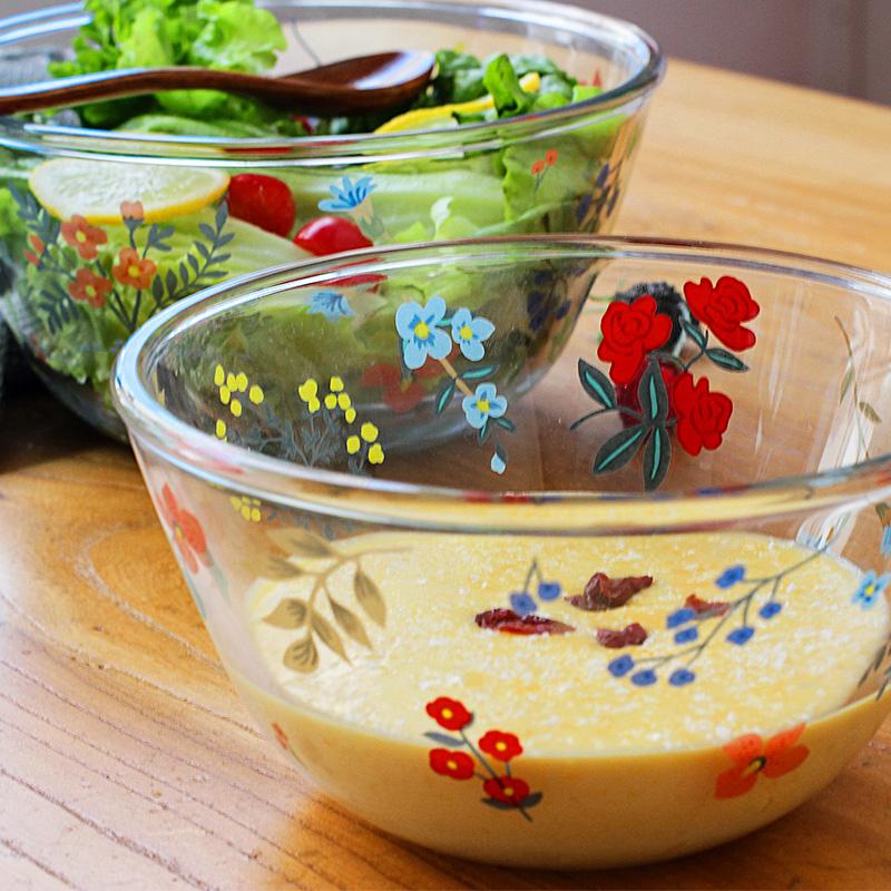 花朵耐热透明玻璃碗可爱家用烘焙沙拉泡面碗微波炉烤箱蒸箱用套装