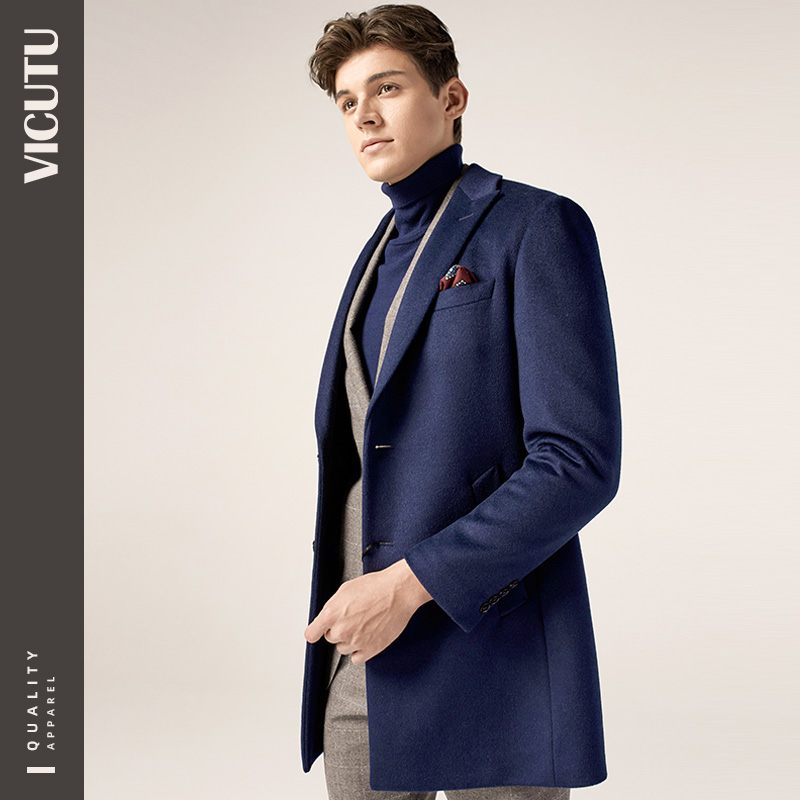 VICUTU/Victor Coat Men's Mid-length Business Slim Lapel Woolen Coat Men's Woolen Coat