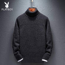 Playboy high neck T-shirt / sweater men's new fall and winter 2019 Plush warm black