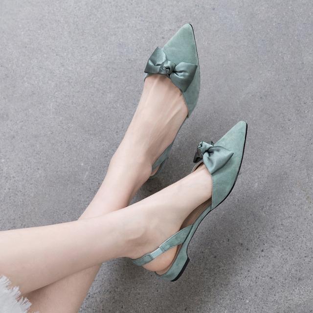 包头凉鞋女2021年夏新款半拖外穿时尚尖头平底鞋蝴蝶结仙女温柔鞋