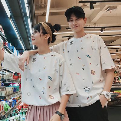 2018夏季新款学生文艺情侣装短袖T恤青少年半袖衫男 F528-P38